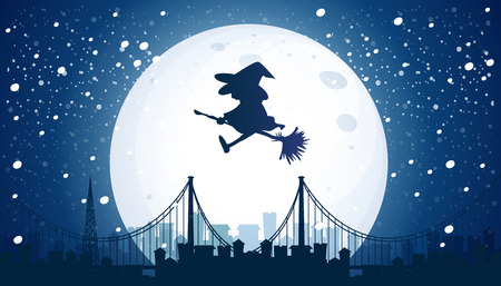 Witch Flying Over the Moon  illustration 일러스트