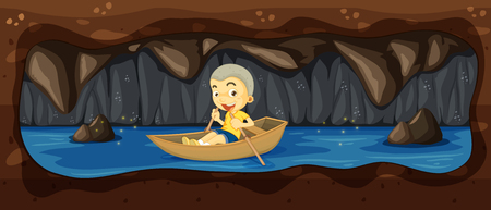 A Kid Riding a Boat in the River Cave illustration. Illustration