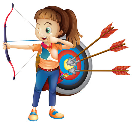 An Archer Girl with White Background illustration.
