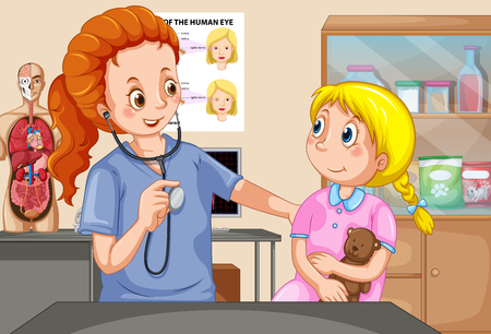 A Girl Checkup with Doctor illustration Illustration