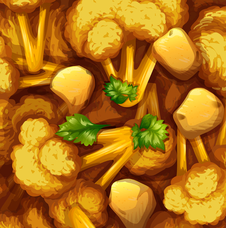 Yellow curry chicken and vegetable illustration Illustration