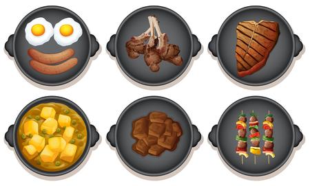 A Set of Meal on Hotplate illustration