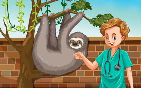A Male Veterinarian with Sloth at Zoo illustration