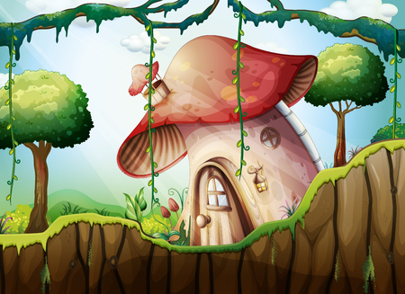 Mushroom House in the Rainforest illustration Vettoriali