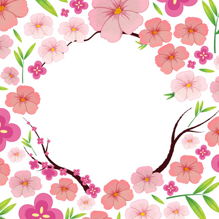 Asian Pink Japanese Sakura Template illustration