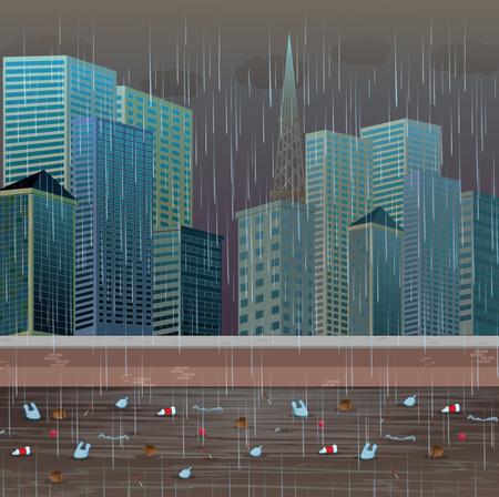 Dirty Water Pollution Rainy Night illustration