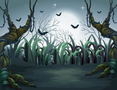 Scary Dark Night in Forest illustration Çizim
