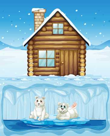 Polar Bear and Northern Hut illustration Illustration