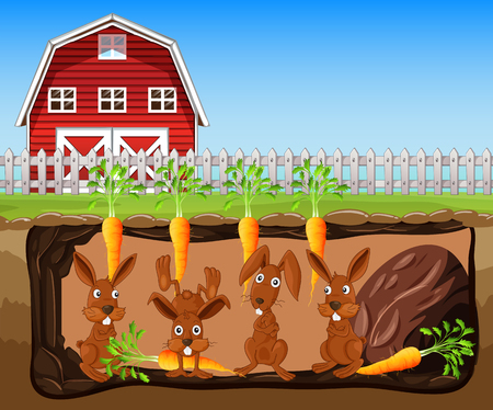 A Rabbit Hole Under Carrot Farm illustration