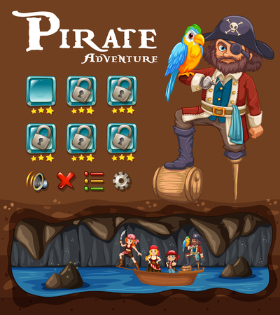 A Pirate Adventure Game Template illustration