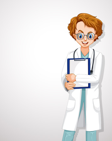 Professional Young Doctor White Template illustration