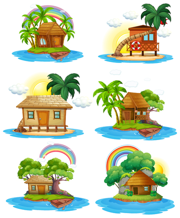 A Set of Hut at Island illustration