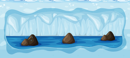 An Underground Cold Icy Cave illustration Illustration