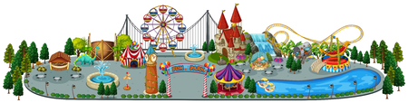 A Fun Amusement Park Map illustration