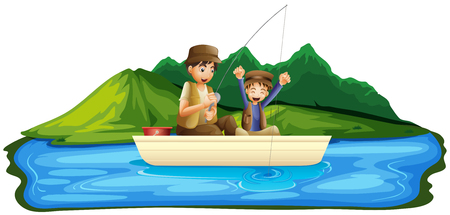 Father and Son Fishing in Lake illustration