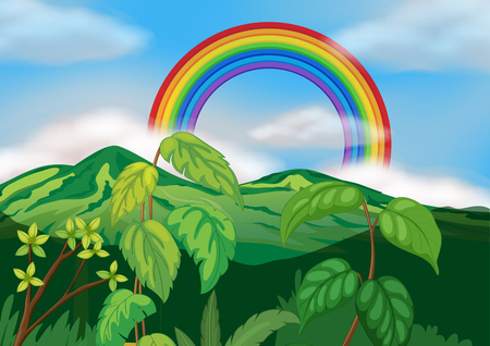 A Beautiful Green Mountain Landscape illustration