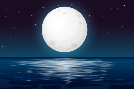 Una notte di luna piena all'illustrazione dell'oceano