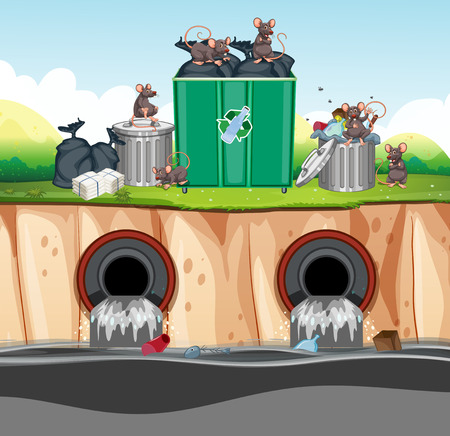 Unsanitary Waste Disposal with Rat illustration