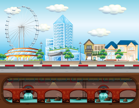 Sewer System in Big City illustration