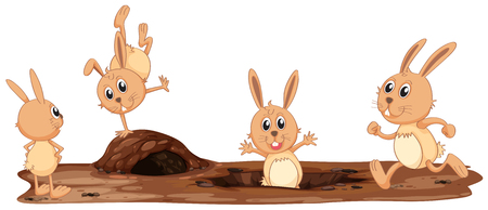 A Set of Cute Rabbit illustration