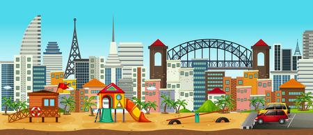 Panorama of Playground in Urban Area illustration Stock Illustratie