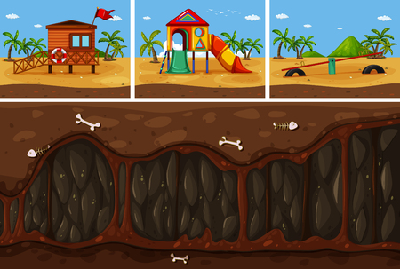 A Vector of Land and Underground  illustration Vectores