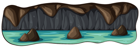A Scary Underground River Cave  illustration Illustration