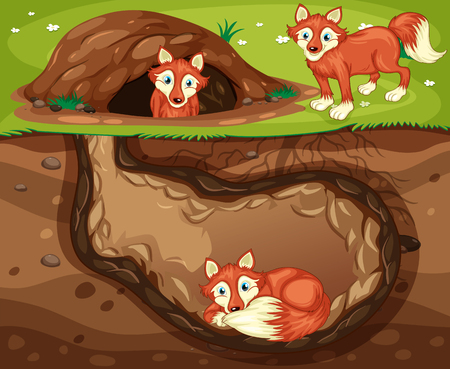 A Fox Family Living Underground illustration