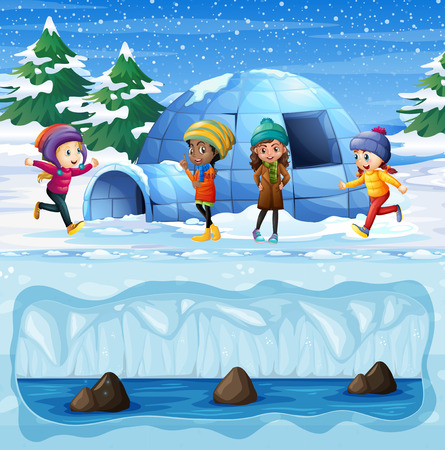 Young Girls Playing in front of Igloo illustration