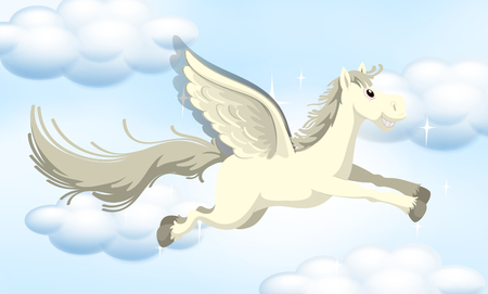 A Fairy Tale Pony on Sky illustration 向量圖像