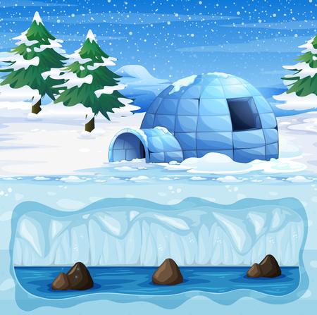 Igloo in the Cold North Pole illustration Illustration