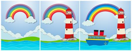 Beautiful Island and Lighthouse Landscape illustration Illustration