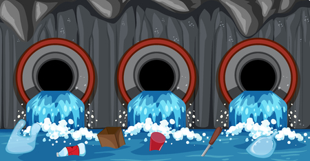 Sewer Pipe System From Household illustration