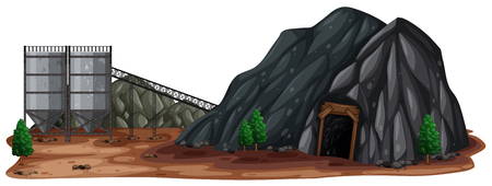 A Stone Mine on White Background illustration