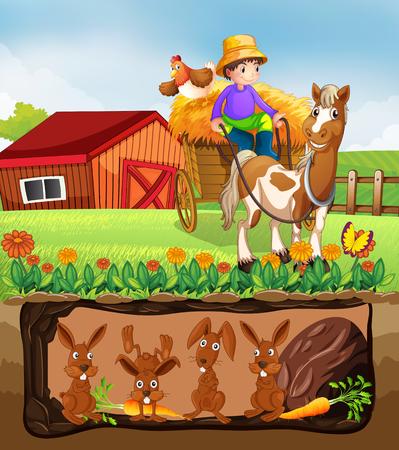 Rabbit Living in Underground Farm illustration