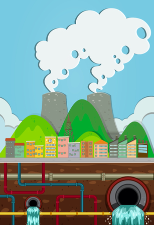 Nuclear Power Plant and Water System Underground illustration
