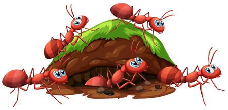 Een illustratie van Fire Red Ants and Hole Vector Illustratie