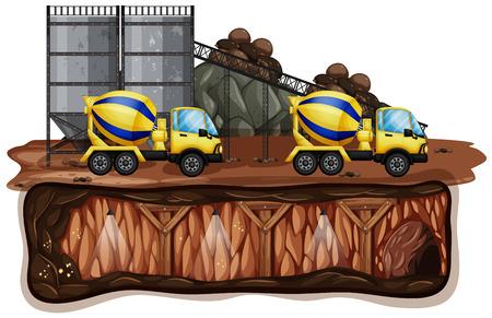 Paisaje de mina y amarillo ilustración camión Foto de archivo - 103085039