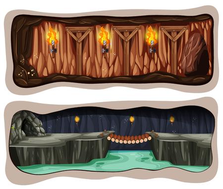 A Set fo Underground Mine illustration