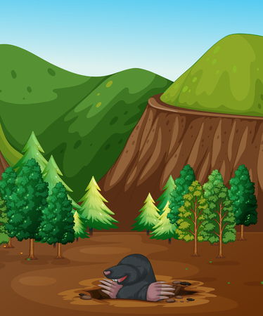 A Mole Digging the Ground illustration