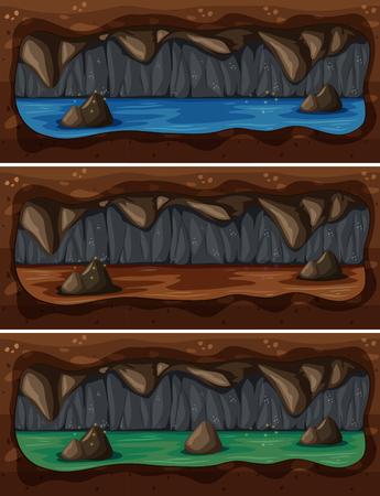 A Set of Underground Cave River illustration