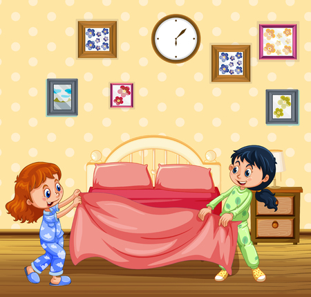 Children Making Bed in the Morning illustration  イラスト・ベクター素材