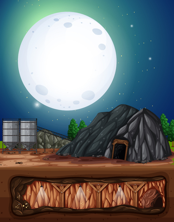 A Full Moon Night  Mine illustration