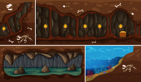 A Set of Natural Underground Space illustration