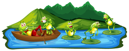 Happy Frogs at the Pond illustration Stock Vector - 103085357