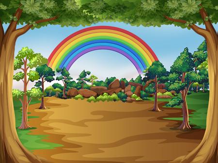 un hermoso paisaje de bosque ilustración