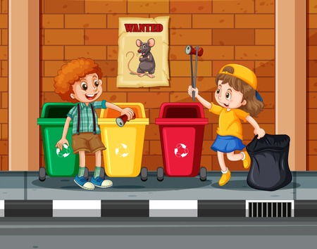 Children Collecting and Cleaning City illustration