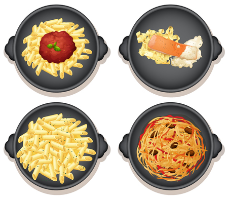 A Set of Italian Pasta Dishes  illustration
