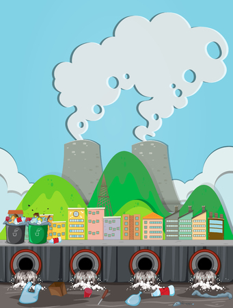 A Pollution From Nuclear Power Plant illustration
