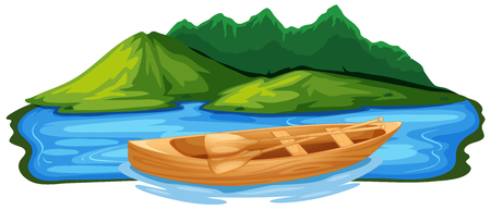 Wooden Paddle Boat in Nature illustration